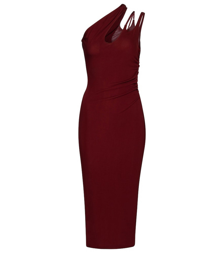 Mugler One-shoulder jersey bodycon dress in red