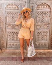 top,set,crop tops,High waisted shorts,topshop,white bag,tote bag,slide shoes,sun hat