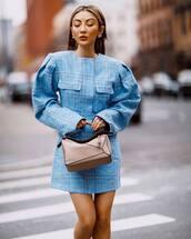 bag,brown bag,loewe bag,puffed sleeves,blue dress,plaid dress
