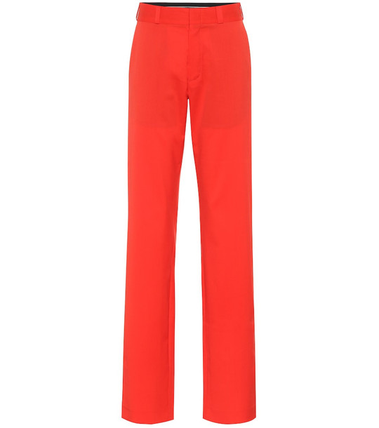 Vetements High-rise straight wool pants in red