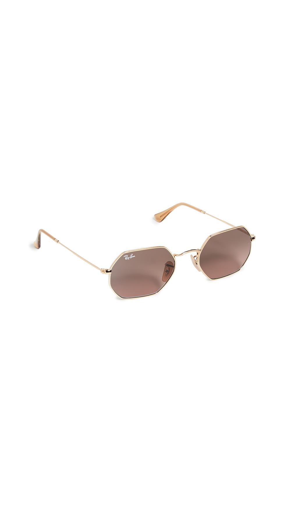 Ray-Ban Narrow Icons Hexagonal Sunglasses in brown / gold / grey