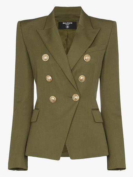 Balmain Double-breasted grain de poudre jacket in green