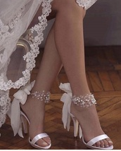 shoes,white,wedding shoes,heels,pearl,lace up,cute high heels,pretty