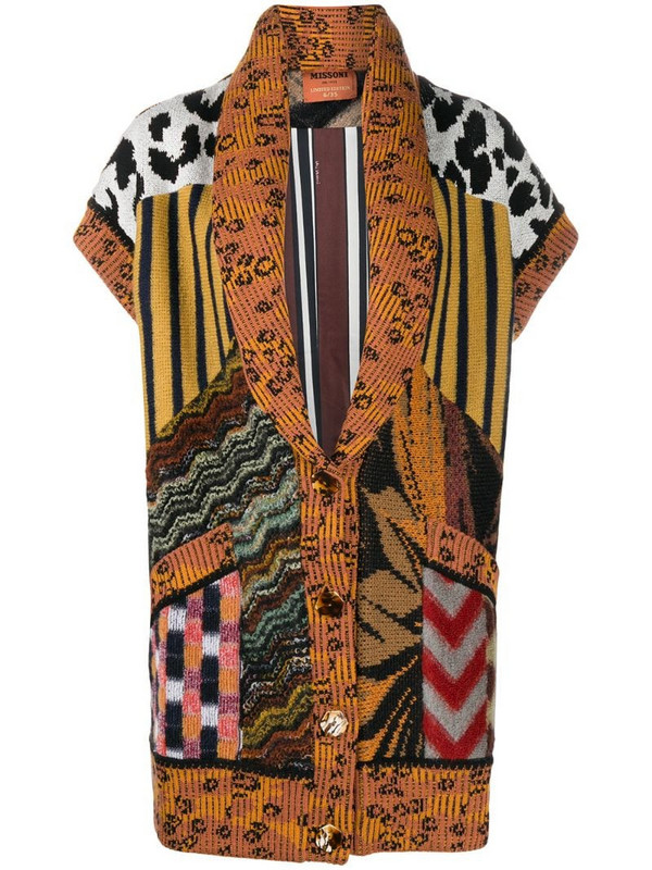 Missoni contrast-panel knitted coat in brown