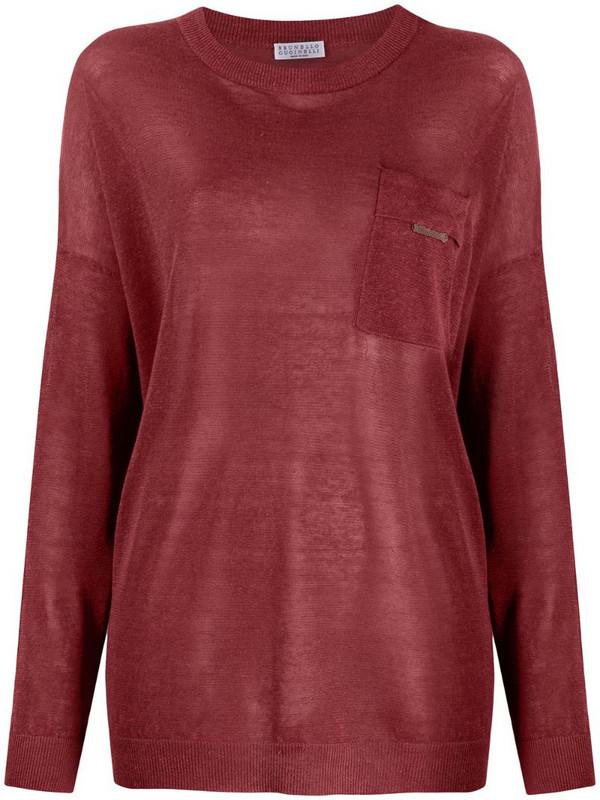 Brunello Cucinelli patch-pocket jumper in red