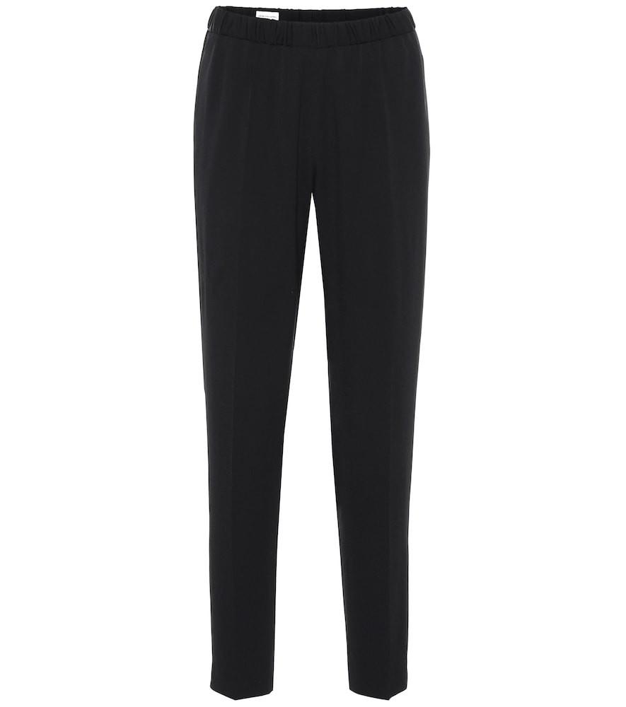 Dries Van Noten Printed high-rise straight pants in black
