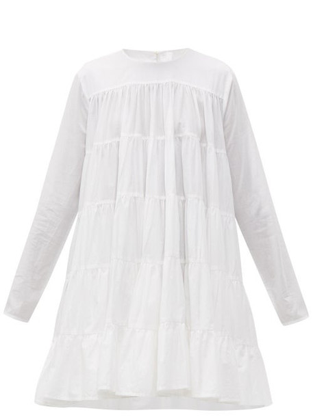 Merlette - Soliman Tiered Cotton Mini Dress - Womens - White