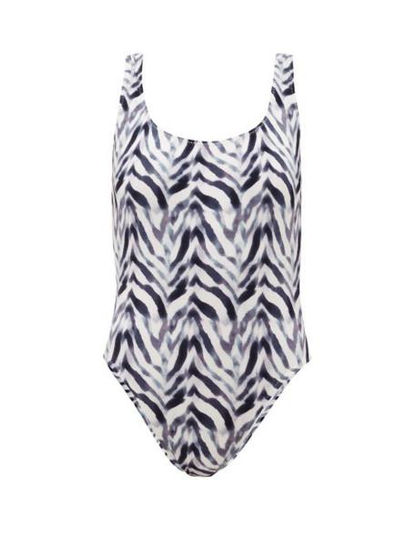 Norma Kamali - Super Digital-print Scoop-back Swimsuit - Womens - Blue Print