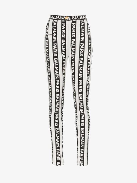 Balmain stripe logo skinny jeans in black