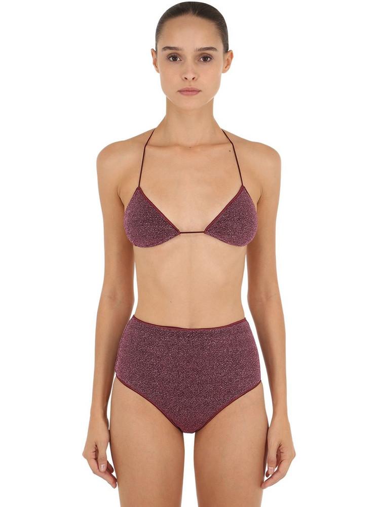 OSÉREE SWIMWEAR High Waisted Lurex & Lycra Bikini in purple