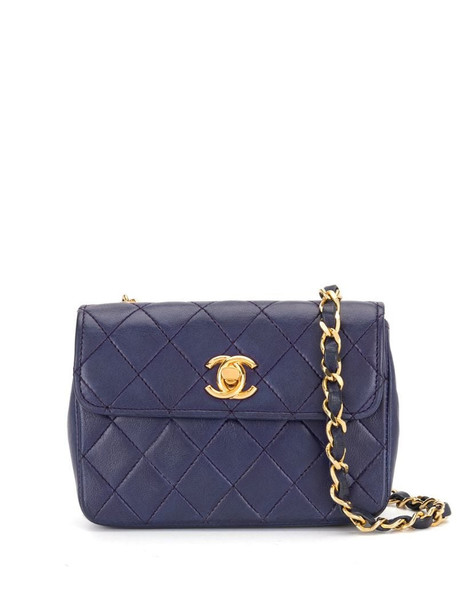Chanel Pre-Owned 1985-1990 diamond-quilted mini bag in blue