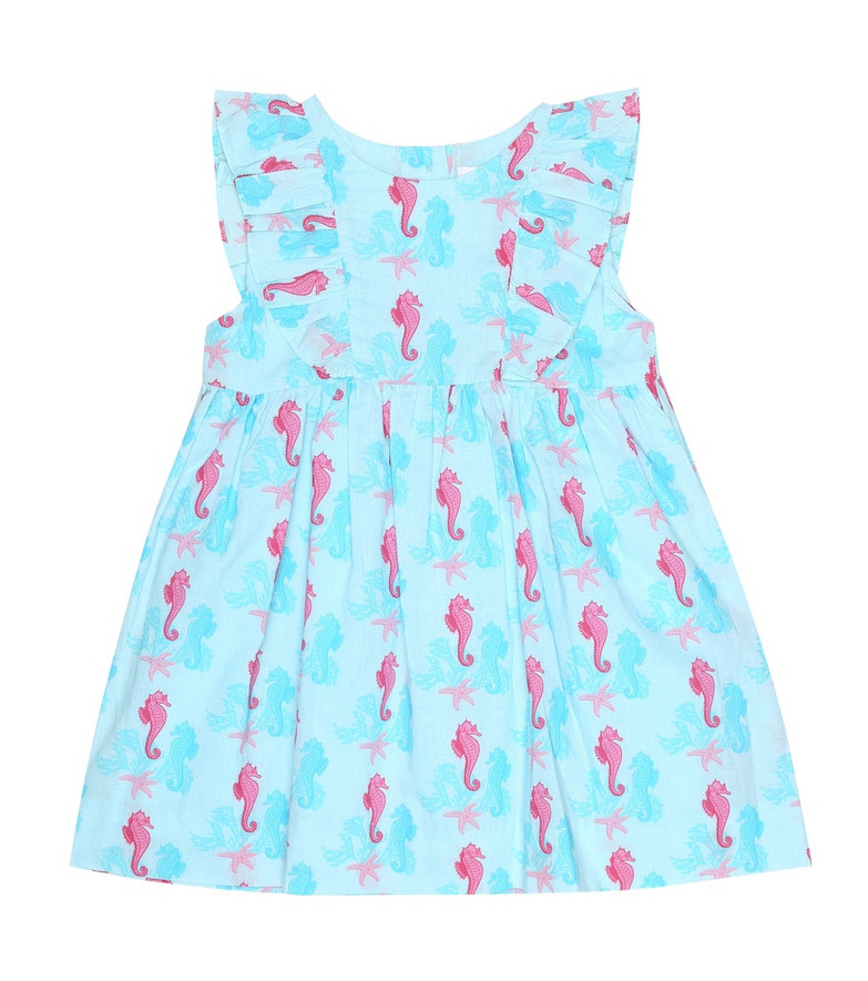 Rachel Riley Baby Seahorse cotton dress and bloomers in blue