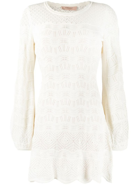 Twin-Set knitted mini dress in white