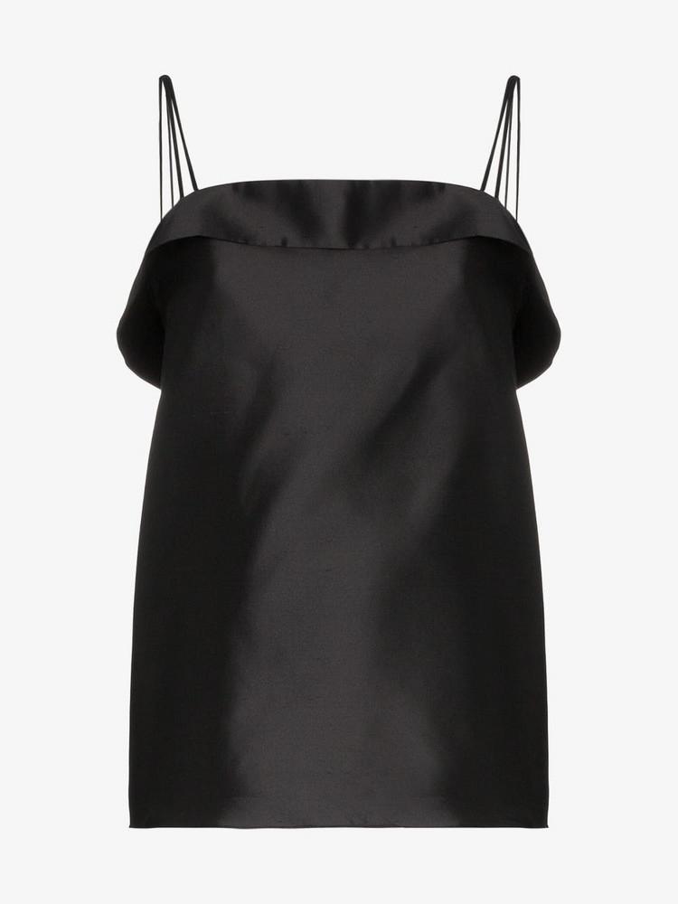 Deitas Coco silk double strap camisole top in black