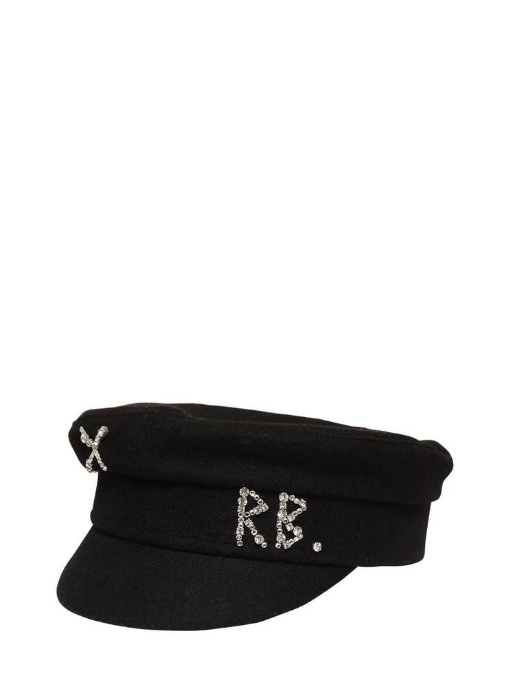 RUSLAN BAGINSKIY Wool Baker Boy Hat W/ Crystals in black