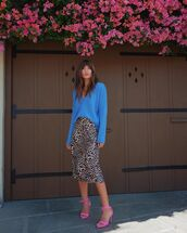 skirt,animal print,leopard print,rocky barnes,instagram,midi skirt,spring outfits,blogger style,blogger,sweater,blue