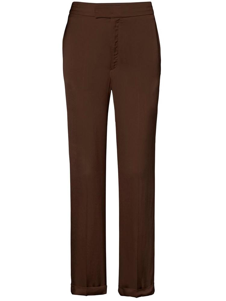 BITE STUDIO Fluid Cupro Satin Straigth Pants in brown