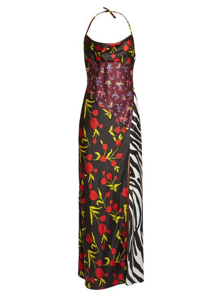 The Attico - Floral Print Halterneck Satin Dress - Womens - Black Multi