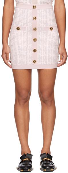 Balmain Pink & White Knit Monogram Button Miniskirt in rose