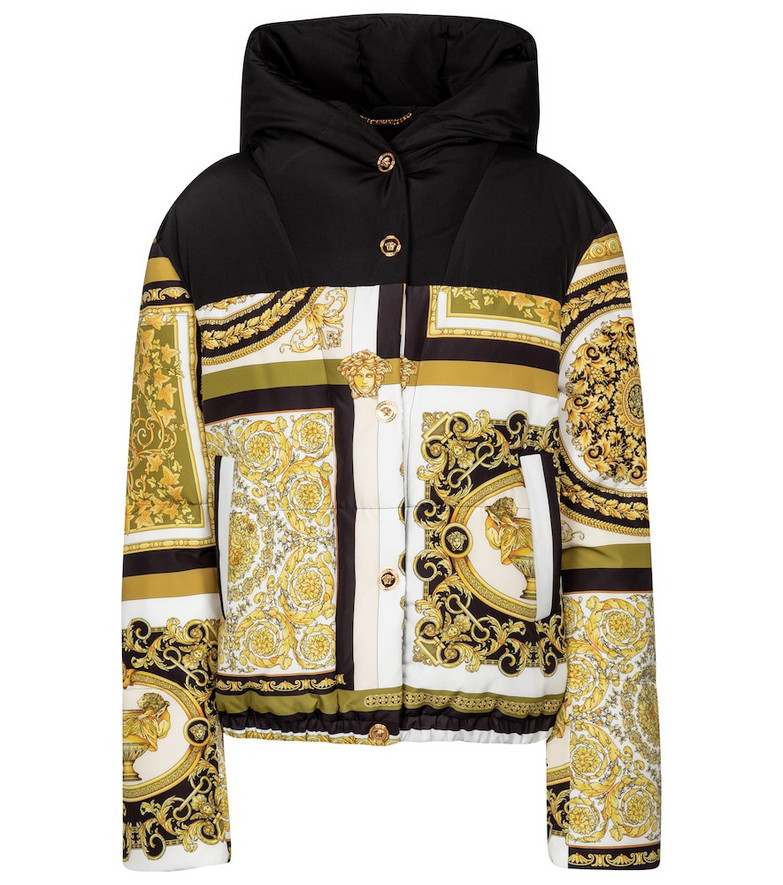Versace Barocco Mosaic down jacket in gold