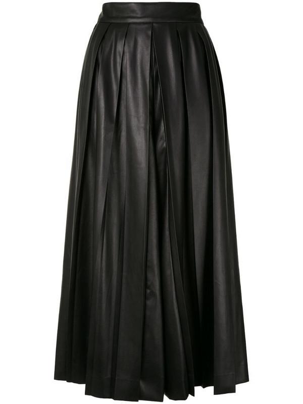 Goen.J pleated midi flared skirt in black