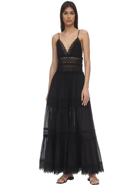 CHARO RUIZ Cindy Lace & Cotton Maxi Dress in black