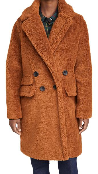 Adrienne Landau Faux Fur Teddy Coat in brown