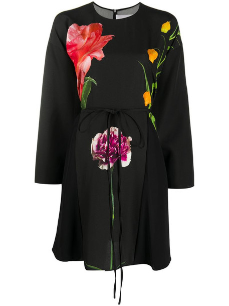 Valentino floral-print long-sleeve dress in black