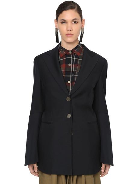 LOEWE Cool Wool Blazer W/ Flared Sleeves in navy