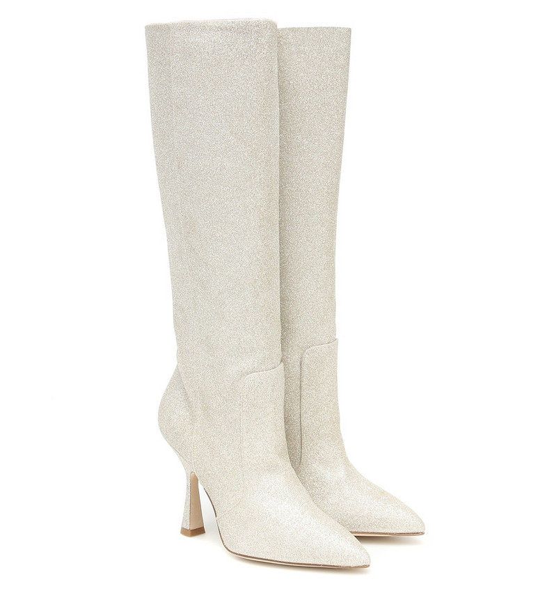 Stuart Weitzman Parton embellished knee-high boots in gold
