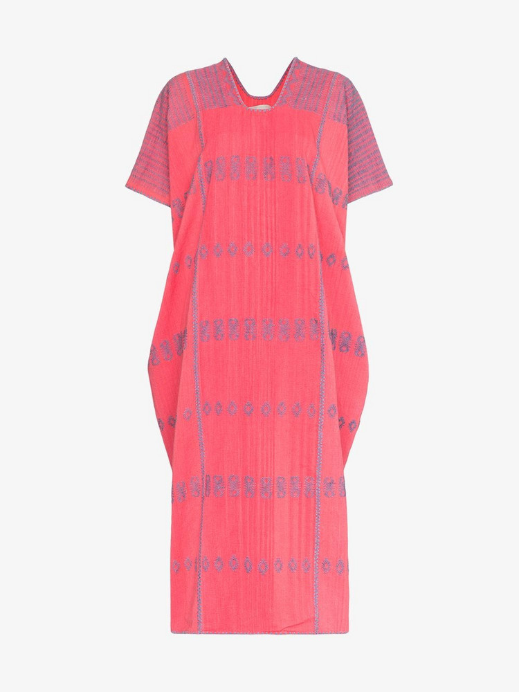 Pippa Holt Embroidered Kaftan Midi Cotton Dress in pink