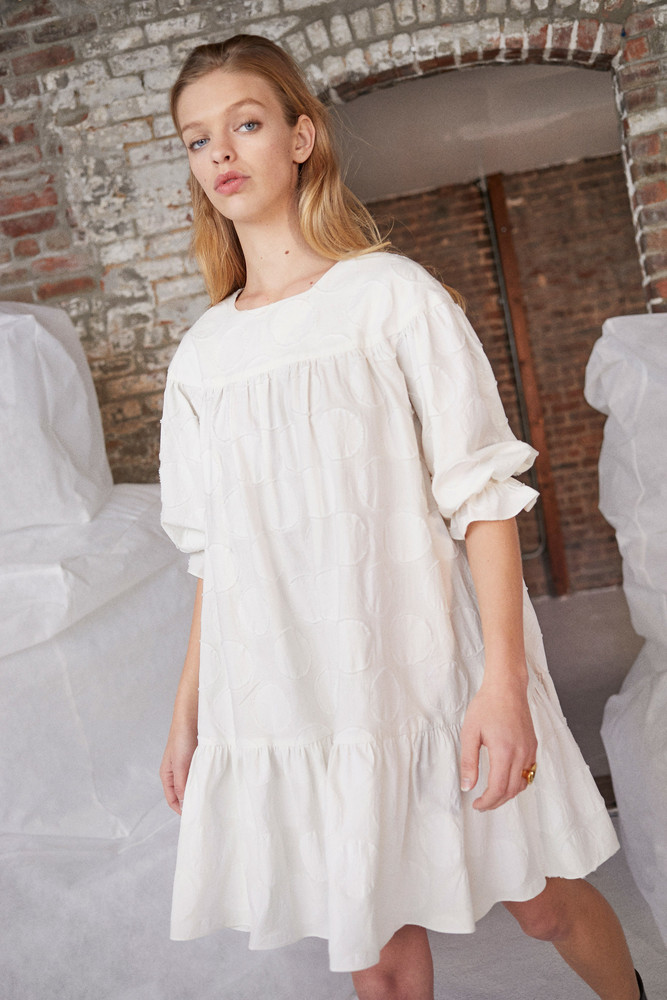 WHIT Yoke Dress in TEXTURED DOT CREAM