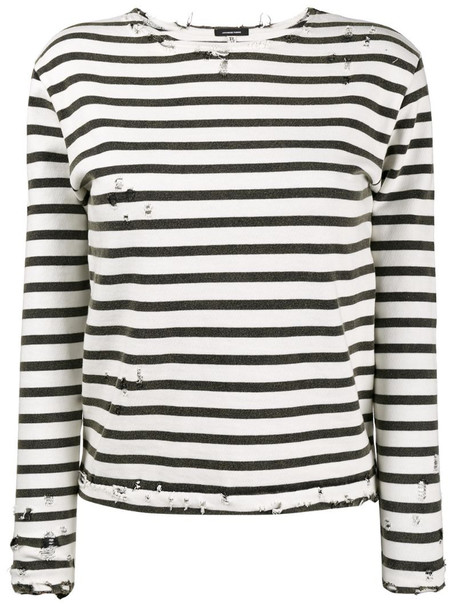 R13 Striped Long Sleeve T-Shirt in white
