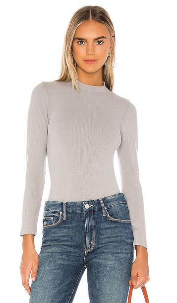 Free People Lindsey Mock Neck Top in Gray