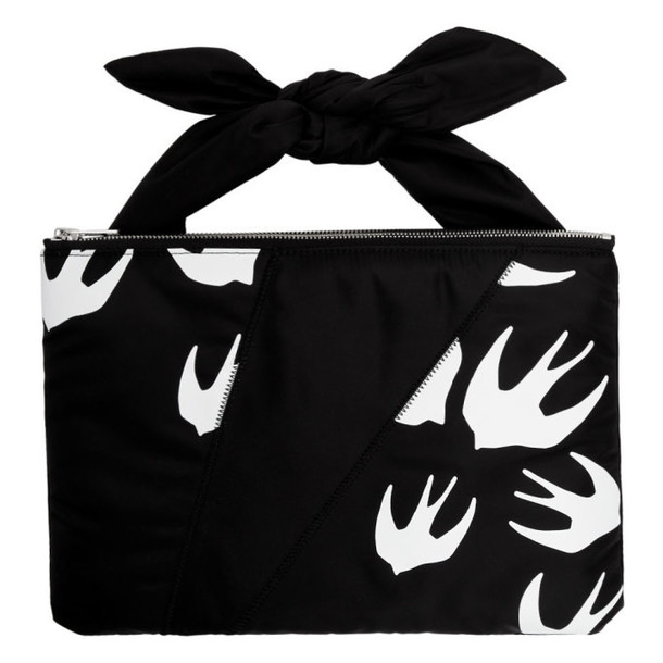 McQ Alexander McQueen Black Swallows Knotted Tablet Pouch