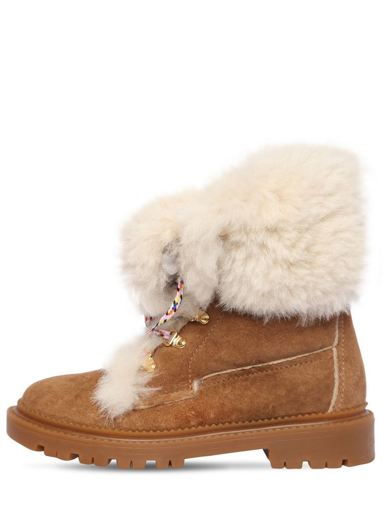 CASADEI 20mm Suede & Shearling Trekking Boots in brown