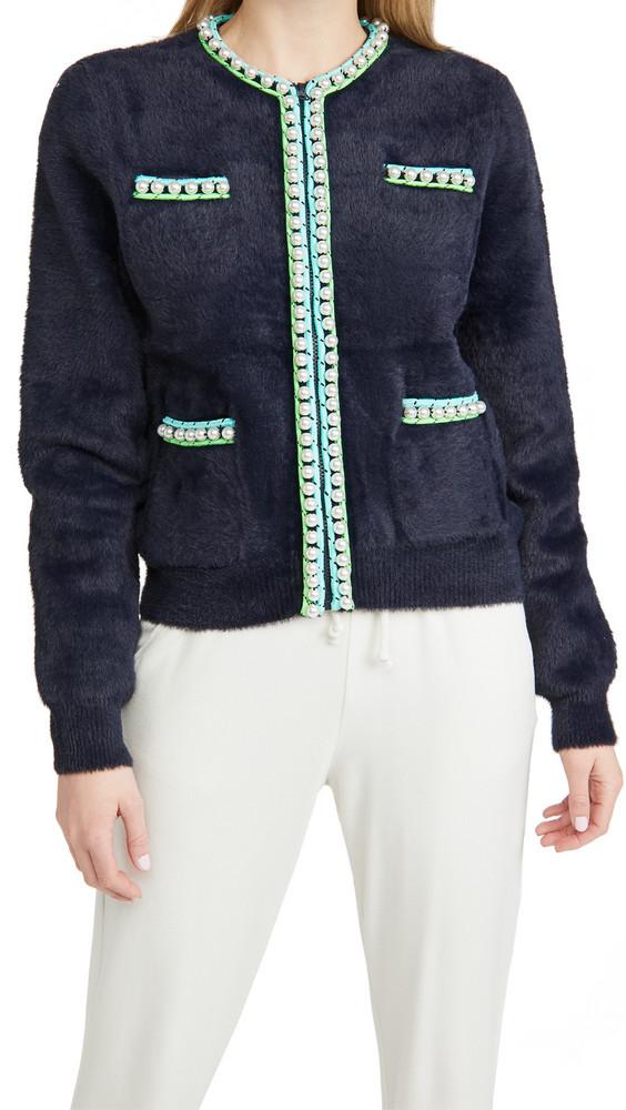 Essentiel Antwerp Wirl Knit Imitation Pearls Cardigan in navy