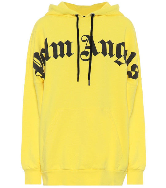 Palm Angels Logo cotton hoodie in yellow