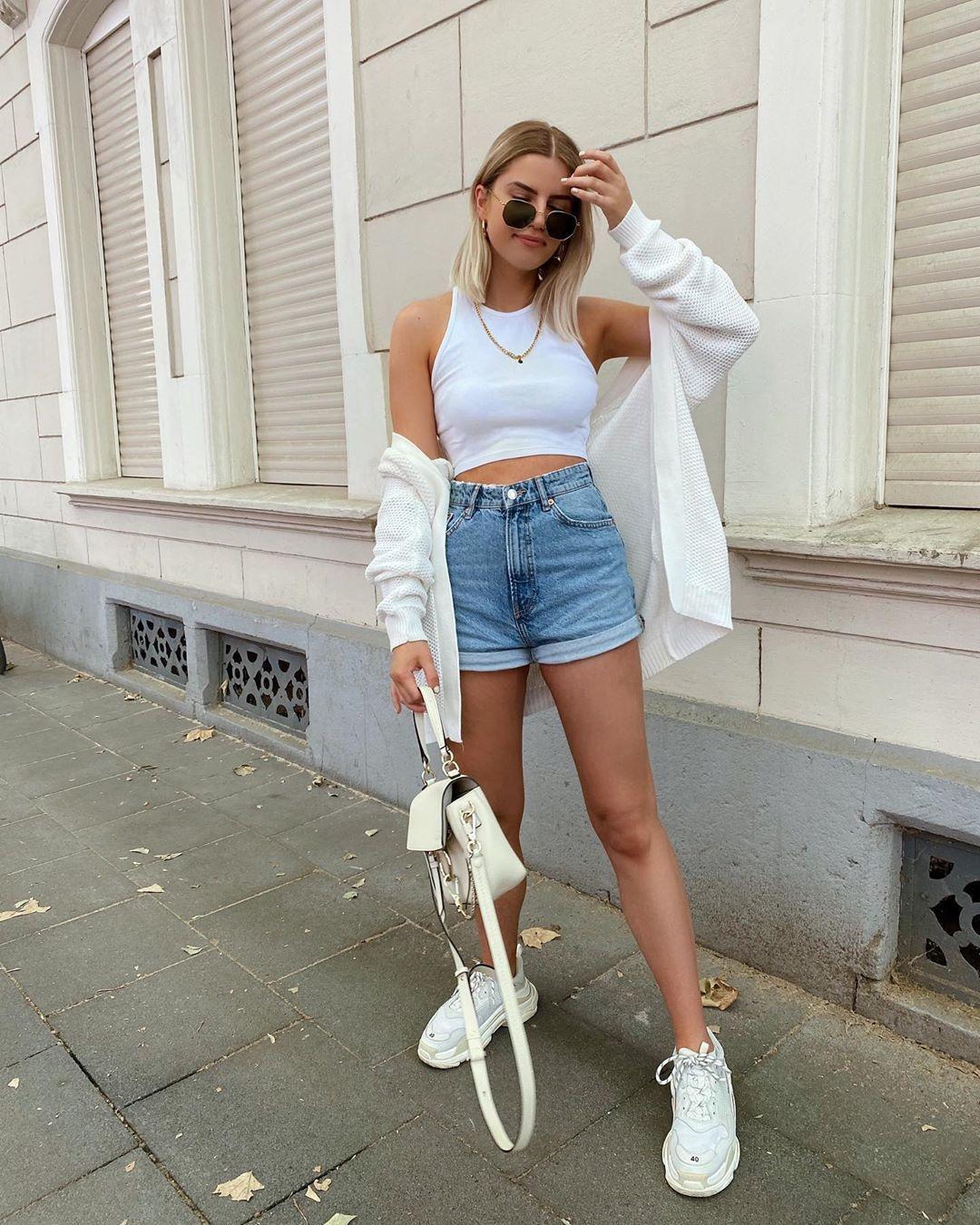 shorts denim shorts white sneakers white top crop tops white bag white cardigan