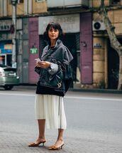 skirt,pleated skirt,asymmetrical skirt,mules,midi skirt,denim jacket,oversized jacket,black sweater,dior bag