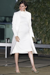 dress,turtleneck,turtleneck dress,white,white dress,coat,celebrity,meghan markle,maternity dress