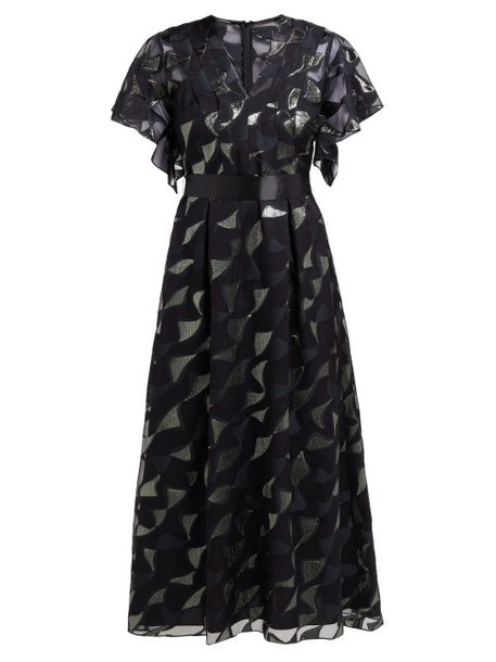 Goat - Evangelina Tie Waist Fil Coupé Dress - Womens - Black Multi