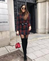 dress,mini dress,plaid dress,over the knee boots,black boots,tights,fendi,shoulder bag,black belt