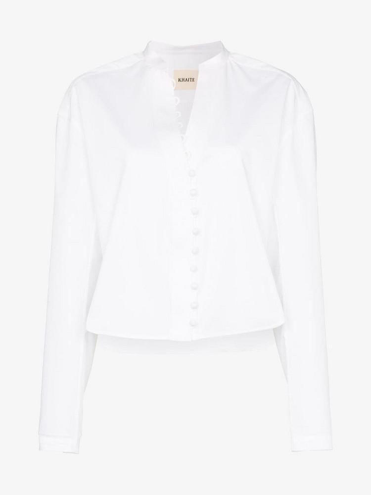 Khaite Charlotte Mandarin Collar Button Down Cotton Top in white