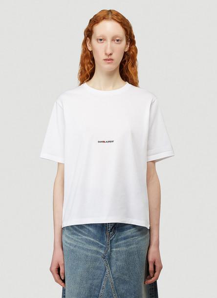 Saint Laurent Logo T-Shirt in White size XS