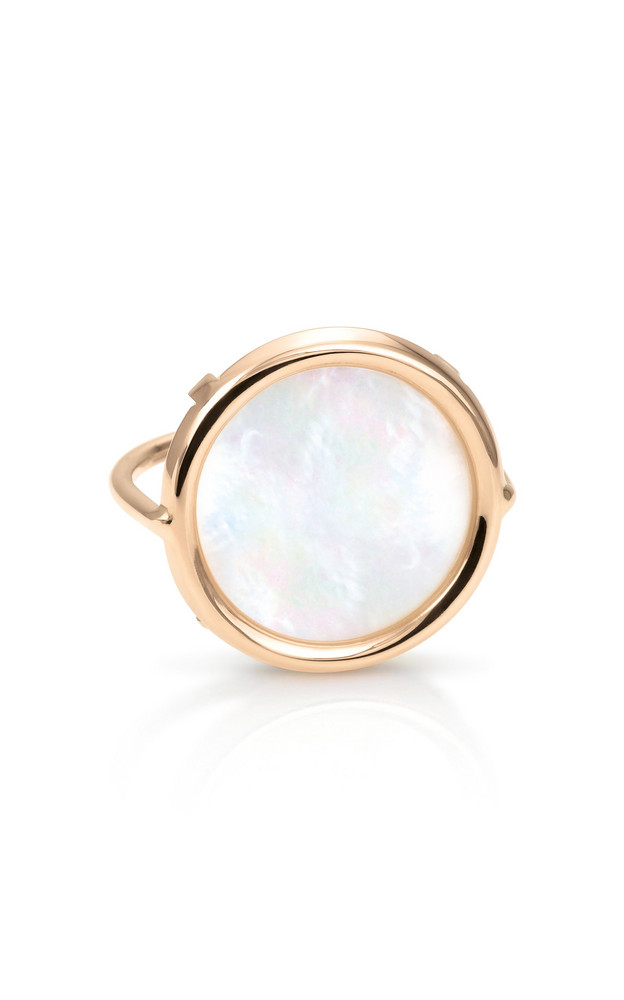 Ginette NY 18K Rose Gold Mother-Of-Pearl Disc Ring in white
