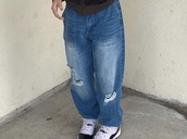 jeans,cyber ghetto,y2k,ripped jeans,baggy jeans,help meh,blue jeans