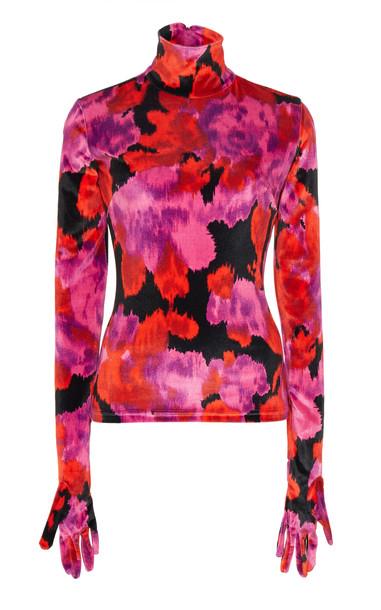 Richard Quinn Rose Garden Gloved Georgette Top Size: 14 in red