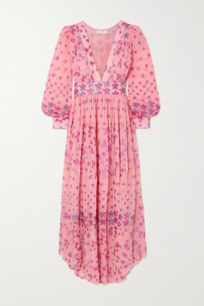 LoveShackFancy - Cyrena Fil Coupé Silk-blend Georgette Maxi Dress - Pink