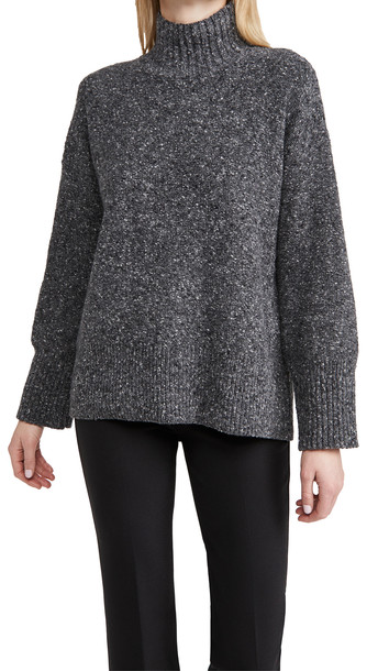 FRAME High Low Turtleneck Sweater in charcoal / multi